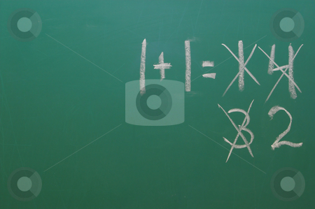 Chalkboard stock photo, A chalkboard with the equation 1+1=2. by Robert Byron