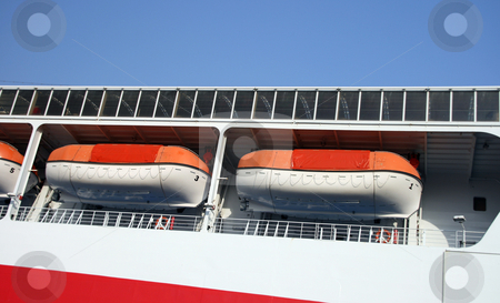 Modern life boats stock photo, Two modern life boats detail from passenger ship by EVANGELOS THOMAIDIS