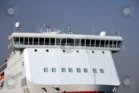 Passenger ship front detail stock photo, Front of a modern passenger ferry boat at the port of piraeus athens greece by EVANGELOS THOMAIDIS