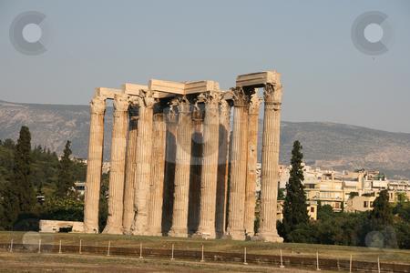 Temple of zeus stock photo, Temple of olympic zeus pilars landmarks of athens greece horizontal shut by EVANGELOS THOMAIDIS