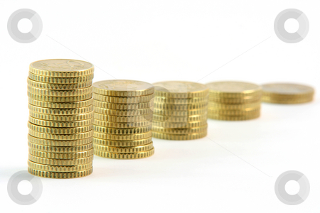Row of eurocents stock photo, Stacks of fifty euro cents in a row isolated on white background business and finance concepts by EVANGELOS THOMAIDIS
