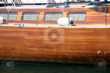 Sail yacht side stock photo, Side view from luxury sail yacht at marina by EVANGELOS THOMAIDIS