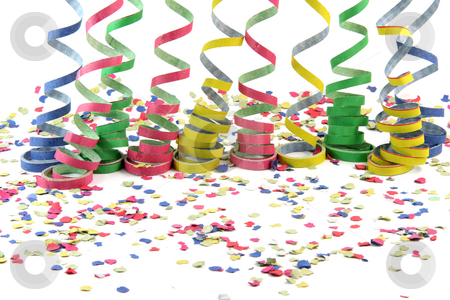 Comfetti and streamers stock photo, Streamers and comfetti texture isolated on white background celebration and holiday concepts by EVANGELOS THOMAIDIS