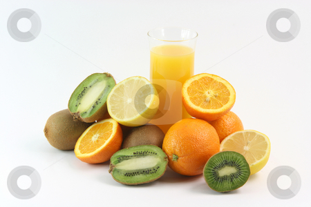 Juice and fruits stock photo, Glass of juice with fruits oranges lemons and kiwi isolated on white background agriculture and healthy eating by EVANGELOS THOMAIDIS