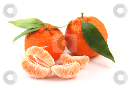 Mandarins and slices stock photo, Two mandarins with leaf and slices isolated on white background fruits and agriculture concepts by EVANGELOS THOMAIDIS