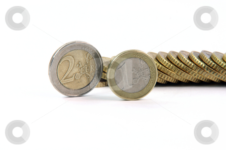 One and two eurocoins stock photo, One and two eurocoins and pile of euro coins isolated on white background money and finance concepts by EVANGELOS THOMAIDIS