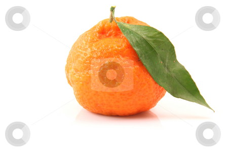 Mandarin isolated stock photo, Mandarin with leaf isolated on white background fruits and agriculture concepts by EVANGELOS THOMAIDIS