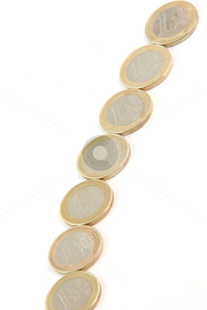 One euro line stock photo, One euro coin line isolated o white background with copy space finance concepts by EVANGELOS THOMAIDIS