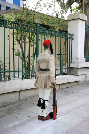 Guard standing stock photo, Greek traditional guard of honor tsolias standing by EVANGELOS THOMAIDIS