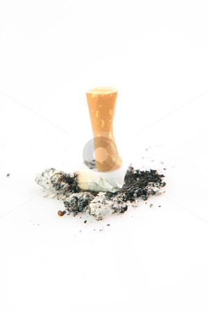 Cigarette addiction stock photo, Health and addiction concepts cigarette and ashes isolated on white background by EVANGELOS THOMAIDIS