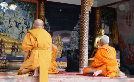 Buddhist monks stock photo, Buddhist monks pray to buddha at big buddha temple samui island thailand by EVANGELOS THOMAIDIS