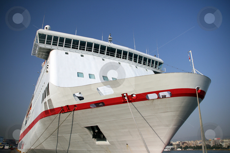 Modern passenger ship stock photo, Front of a modern passenger ferry boat at the port of piraeus athens greece by EVANGELOS THOMAIDIS