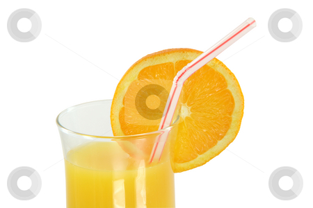 Orange juice with path stock photo, Detail glass of orange juice with straw and slice of orange with clipping path by EVANGELOS THOMAIDIS