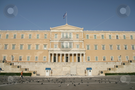 Syntagma athens greece stock photo, Tourists and guards at syntagma outside of greek parliament athens landmarks by EVANGELOS THOMAIDIS