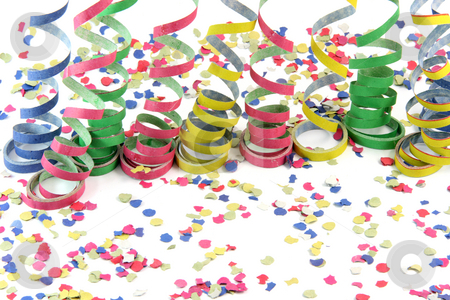 Celebration background stock photo, Streamers and comfetti texture isolated on white background celebration and holiday concepts by EVANGELOS THOMAIDIS