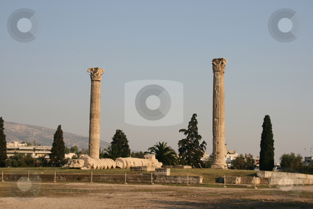 Zeus temple horizontal stock photo, Pilars of olympic zeus landmarks of athens greece horizontal shut detail by EVANGELOS THOMAIDIS