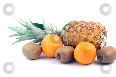 Ananas kiwi oranges stock photo, Fruits oranges kiwi and ananas isolated on white background agriculture and healthy eating by EVANGELOS THOMAIDIS