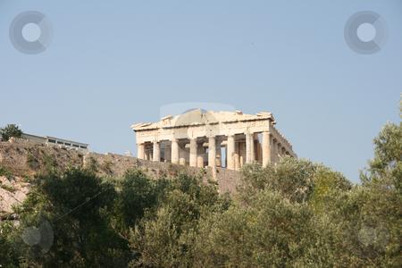 Trees and parthenon stock photo, Parthenon above trees landmarks of athens greece by EVANGELOS THOMAIDIS