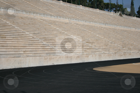 Stadium seats stock photo, Detail from kalimarmaro stadium in athens greece the stadium where the first new olympic games started by EVANGELOS THOMAIDIS