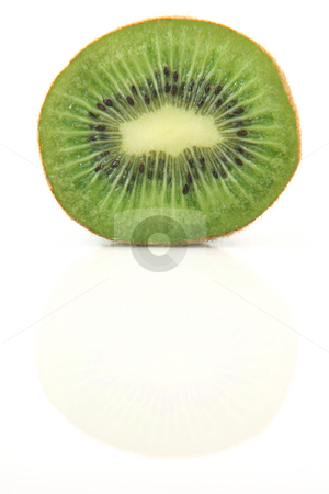 Kiwi reflection stock photo, Half kiwi fruit with reflection isolated on white background healthy eating and agriculture concepts by EVANGELOS THOMAIDIS