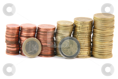 One and two euros stock photo, One two eurocoins and piles of euro coins isolated on white background money and finance concepts by EVANGELOS THOMAIDIS