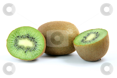 Kiwi and two halfs stock photo, Kiwi and two half isolated on white background healthy eating and agriculture concepts by EVANGELOS THOMAIDIS