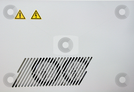 Dangerous stock photo, Caution dangerous sings detail from electric device by EVANGELOS THOMAIDIS