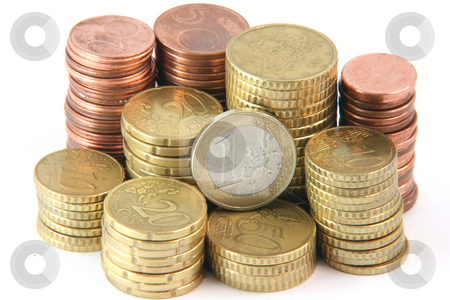 Small change stock photo, Piles of euro coins isolated on white background money and finance concepts by EVANGELOS THOMAIDIS