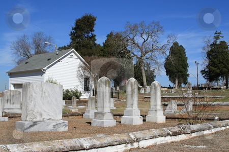 Cemetery stock photo, Cemetery landscape Marrietta Ga with bright blue sky by Jack Schiffer