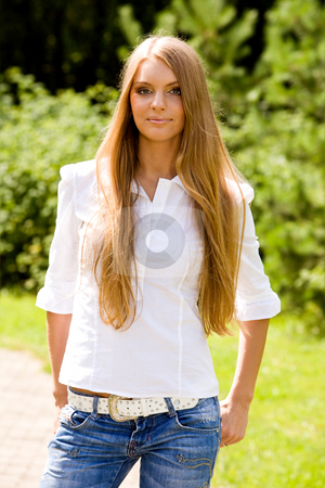Portrait of lovely young woman  stock photo, Portrait of lovely young woman in summer park by Vitaly Sokolovskiy