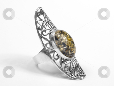 Amber ring stock photo, Amber big ring on white isolated background by Adrian Costea
