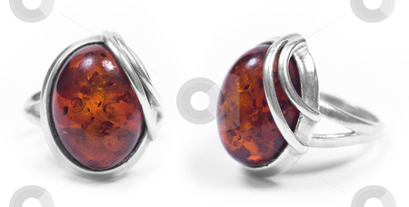 Amber ring front and profile stock photo, Amber ring front and profile on white isolated background by Adrian Costea