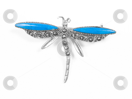 Dragonfly pendant stock photo, Dragonfly pendant on white isolated background by Adrian Costea