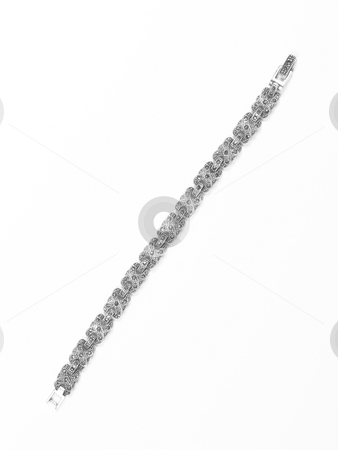 Silver bracelet stock photo, Bracelet on white isolated background by Adrian Costea