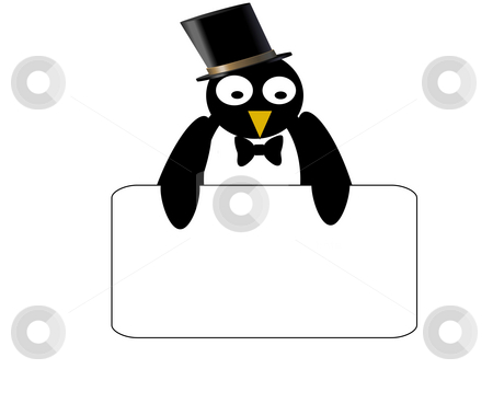 Penguin with blank sign stock photo, Combination of vecor and rastor layers to create an illustration by Michelle Bergkamp