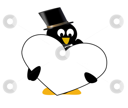 Penguin with heart stock photo, Combination of vecor and rastor layers to create an illustration by Michelle Bergkamp