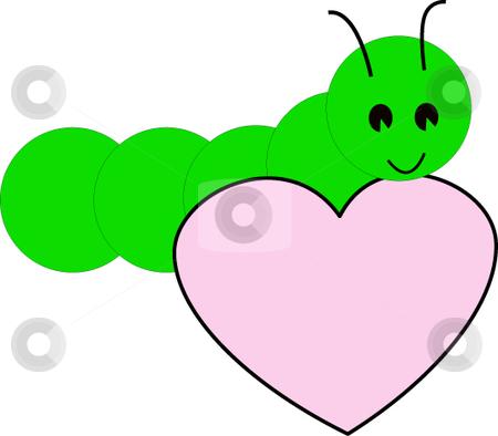 Caterpillar with heart vector stock vector clipart, Caterpillar with heart vector illustration. by Michelle Bergkamp