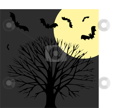 Halloween background stock vector clipart, All that's Halloween, pumpkins, scarey trees and more by Michelle Bergkamp