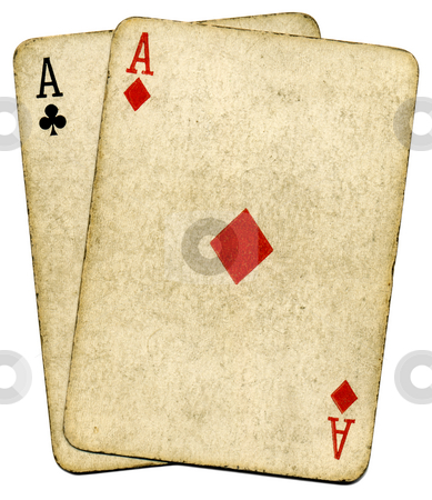 Old vintage dirty aces cards, isolated over white. stock photo, Old vintage dirty aces cards, isolated over white. by Stephen Rees