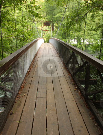 Forest Bridge stock photo, Suspension bridge crossing a river in the forest. by Steve Stedman