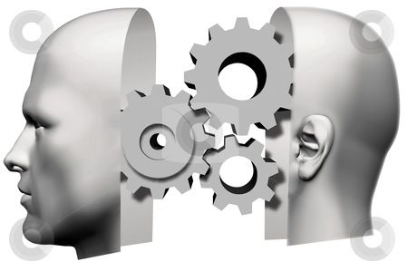 Man Head Front & Back Thinking Gears stock photo, A male human head, face front and back of head, with machine gears thinking inside. by Michael Brown