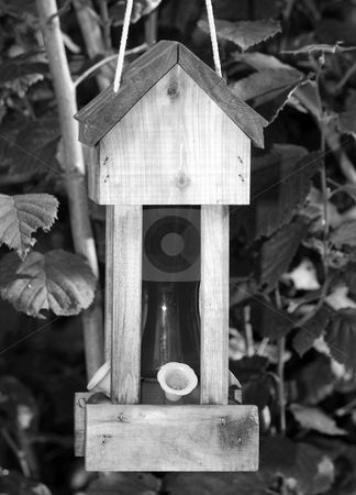 Humming Bird Feeder stock photo, A humming bird feeder shot in black and white, with no birds in the frame by Richard Nelson
