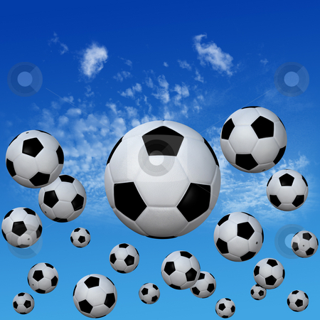 Soccer footballs set in High Cloud Sky stock photo, A group of soccer footballs kick into a high cloud blue sky. 3D illustration. by Michael Brown