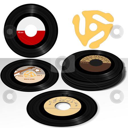 45 Record Labels Retrospective stock vector clipart, Stack of Retro 45 RPM single records: including sample label designs, and classic spindle adapter. by Michael Brown