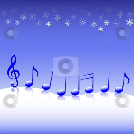 Christmas Carol Music on Snow stock vector clipart, A winter parade of blue Christmas carol music notes on a snow background. by Michael Brown