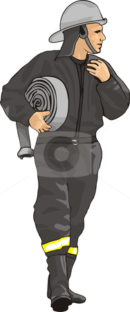 Fireman stock vector clipart, Fireman is coming to save your life by oxygen64