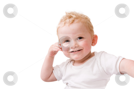 Happy blond child stock photo, Cute caucasian blond toddler ishappy and playfull by Frenk and Danielle Kaufmann