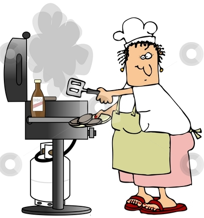 Barbecue Woman stock photo, This illustration depicts a woman cooking burgers on a propane grill. by Dennis Cox