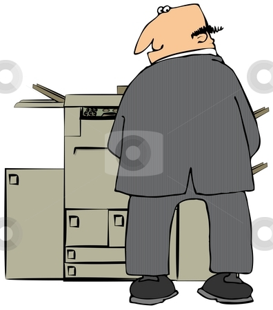 Businessman Peeing On A Copier stock photo, This illustration depicts a man in a suit relieving himself on a large copy machine. by Dennis Cox