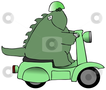 Dinosaur Riding A Scooter stock photo, This illustration depicts a dinosaur riding a green scooter. by Dennis Cox